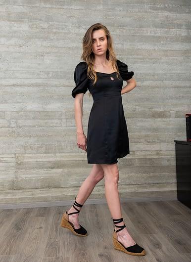 Black Satin Dress with Details