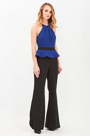 Contrast Peplum Black & Royal Blue Jumpsuit