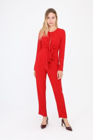 Red Long sleeve Open Back Jumpsuit