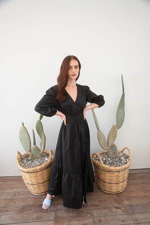 Black Poplin Wrap Dress