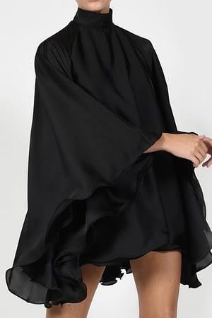 Black Satin Backless Dress