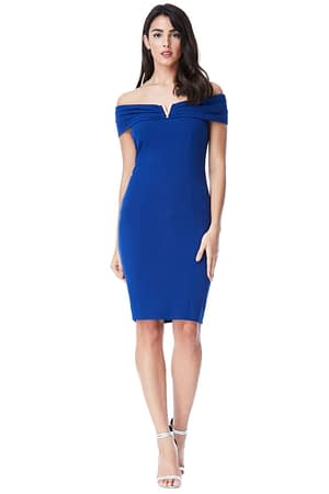 Bardot Blue Midi Dress with Metal Detail
