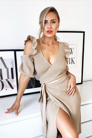 Beige Knitted Off-Shoulder Wrap Dress