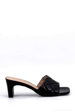 Black Heeled Mules