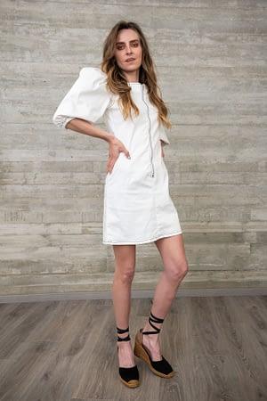 White Volume Dress with Zip