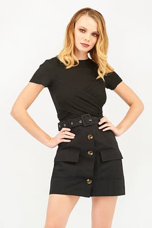 Belted Black Skirt