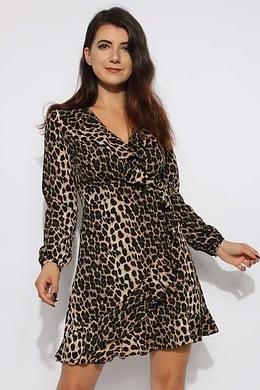 Leopard Frill Wrap Skater Dress