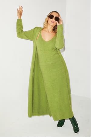 Green Knit Maxi Cardi