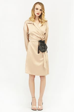 Satin Wrap Dress with Long Sleeves in Beige