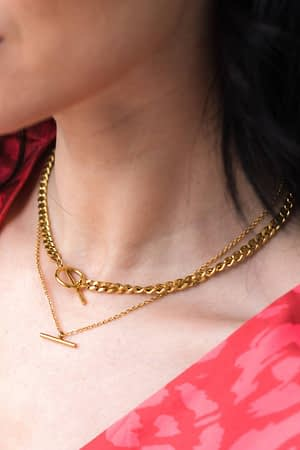 Circle Chain Necklace in 18k Gold Plating