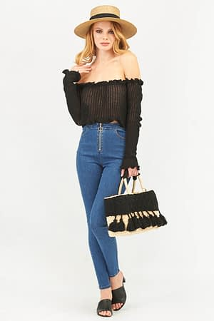 Frill Bardot Crochet Knitted Crop Top