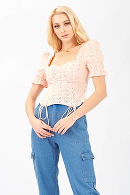 Pink Lace Shirt Sleeve Crop Top