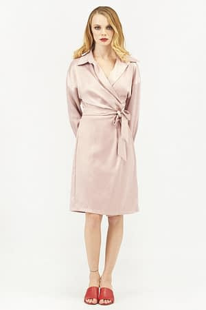 Satin Wrap Dress with Long Sleeves in Pink