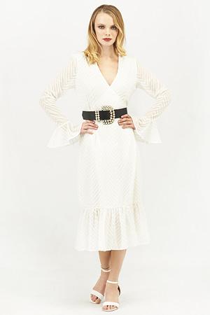 White Chevron Pattern Wrap Dress