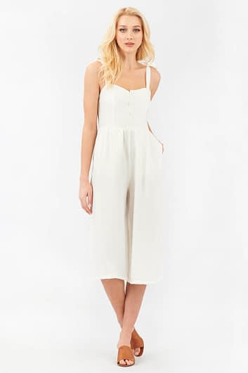 White Jumpsuit with Tie Straps