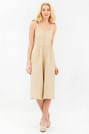 Beige Jumpsuit with Tie Straps