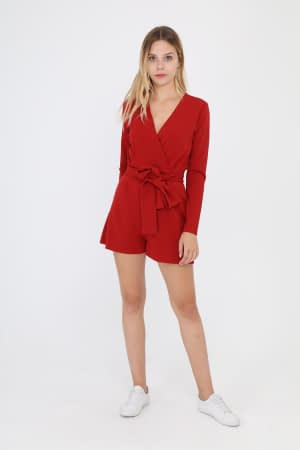 Red Long Sleeves Jumpsuit