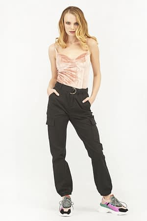 Cargo Black Pants with Belt and Chain
