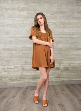 Terracotta Linen Dress with Draped Detail