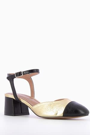 Mid-Heeled Black & Gold Pumps