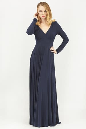 Plunge Neck Pleated Maxi Dress