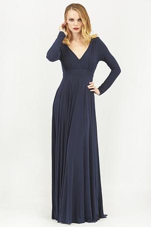Plunge Neck Pleated Maxi Dress