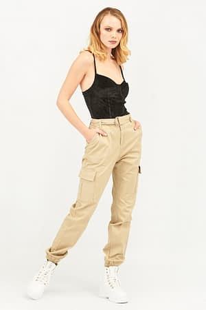 Cargo Beige Pants with Belt and Chain