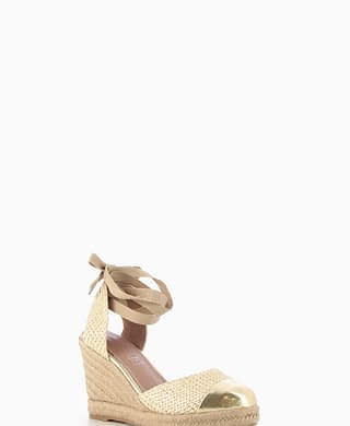Beige Lace Up Wedges with Gold Detail