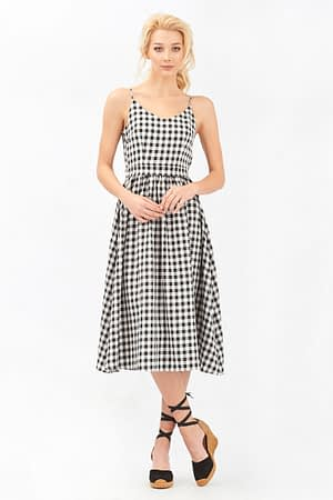 Midi Black Gingham Dress