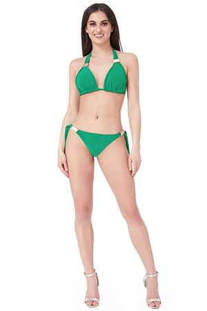 Side Tie Green Bikini with Buckle Detail