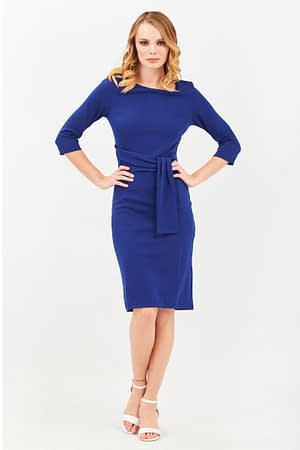 Pencil Blue Dress with a Tie Detail