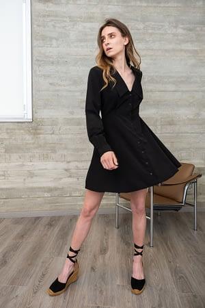Black Dress with Pointy Lapel