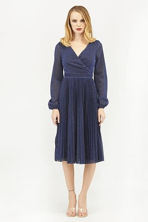 Blue Pleated Glitter Midi With Long Sleeves