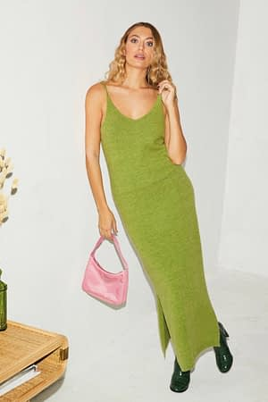 Green Knit Slip Dress