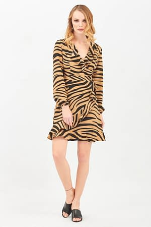 Zebra Frill Wrap Skater Dress
