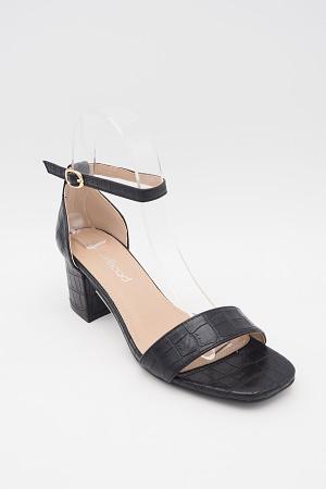 Black Croc Mid Heels