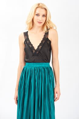 Black Camisole Top with Lace Details