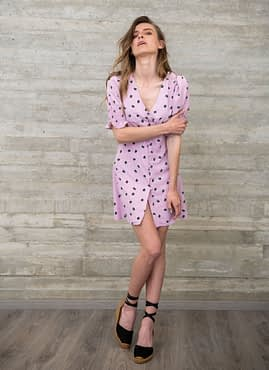 Purple Floral Dress with Buttons