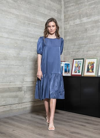 Blue Dress with Ribbon Details