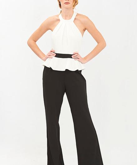 Contrast Peplum Black & White Jumpsuit