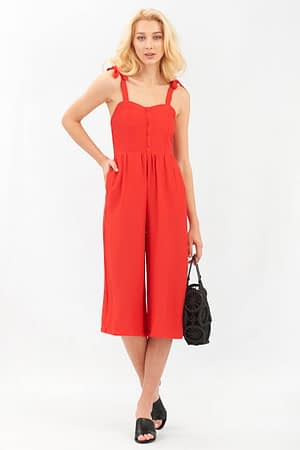 Red Jumpsuit with Tie Straps