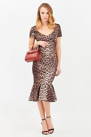 Satin Animal Print Midi with Frill Hem