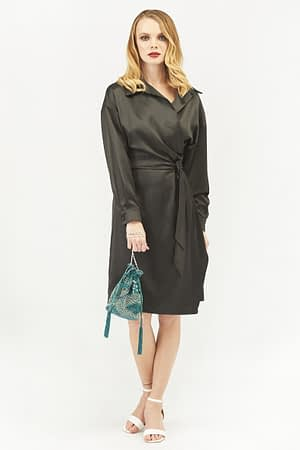 Satin Wrap Dress with Long Sleeves in Black