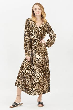 Wrap Maxi Dress with Leopard Print