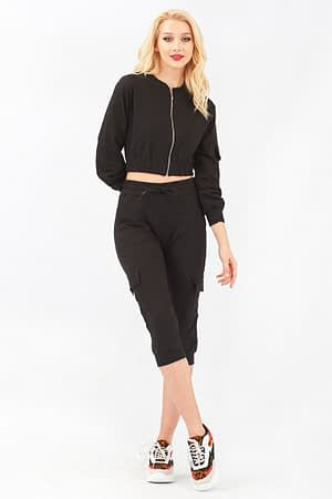 Cropped Jacket and Cargo Trouser Set