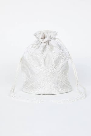 White Hand Embellished Bucket Bag