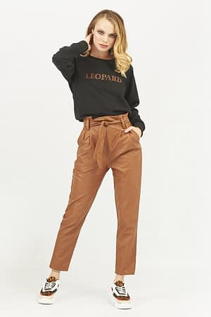 Faux Leather Trousers with Pleats and Belt