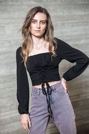Black Top with Corset Detail