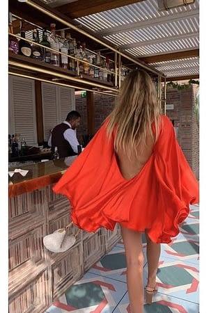 Orange Satin Backless Dress