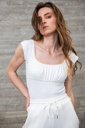 White Body with Draped Details